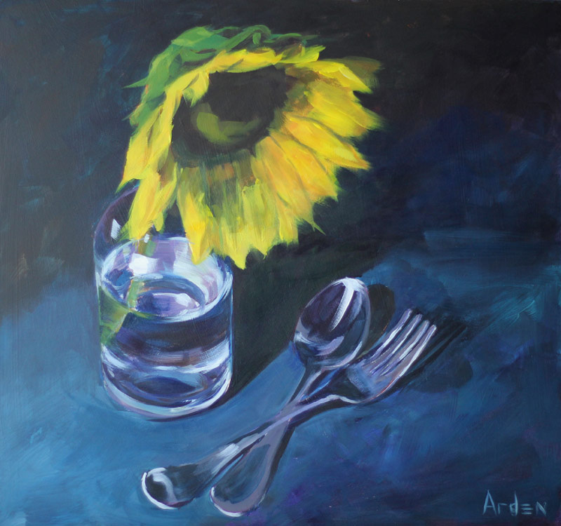 Still-Life with a Sunflower - painting by Anny Arden