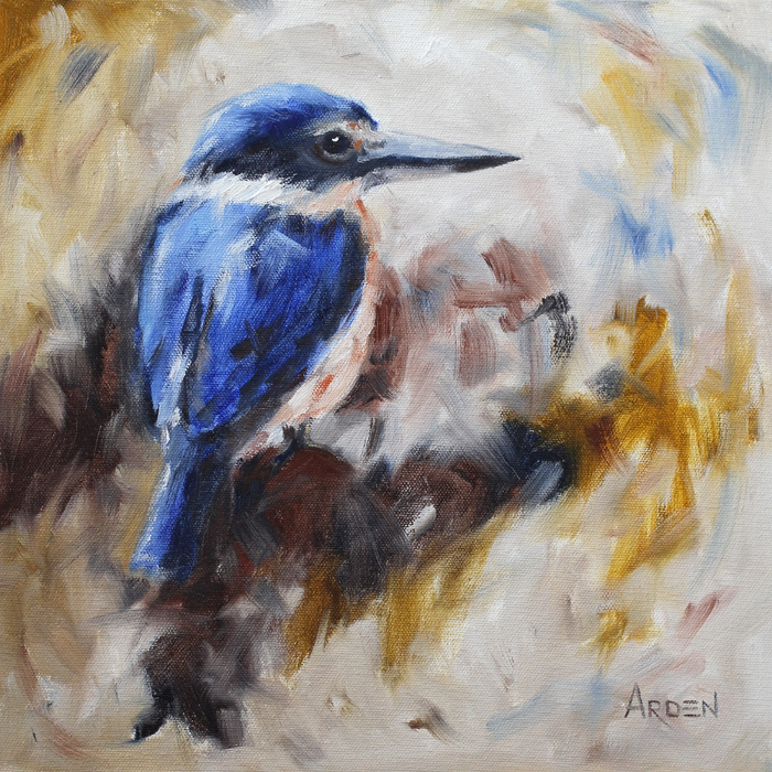 Sacred kingfisher - painting by Anny Arden